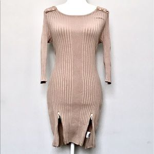 Tan ribbed Bebe minidress